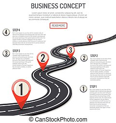 Business Concept with Progress Pointer on marking road. flat style icons. isolated illustration