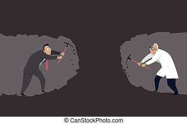 A businessman ans a scientist digging a tunnel towards each other as a metaphor for need for collaboration, EPS 8 vector illustration