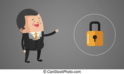 Business and security system HD animation - Businessman with...