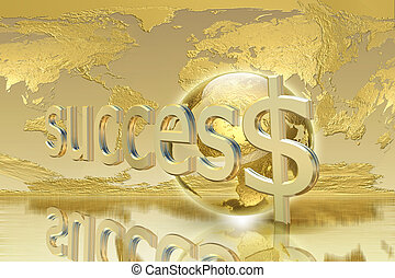 Business and success concept - Golden Background