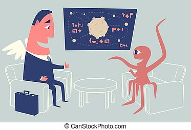 Alien sitting in armchair and presenting startup idea to angel investor using a chart.