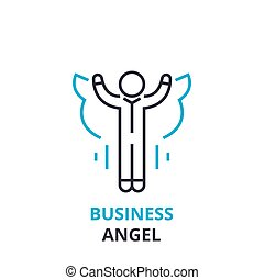Business angel concept , outline icon, linear sign, thin...