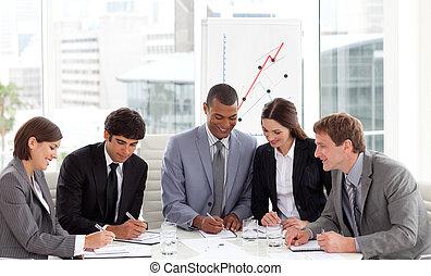 business, angle, rassemblement, élevé, groupe, divers
