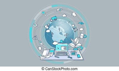 business, animé, -, autour de, mondiale, composition