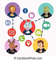 business animal do a group chatting with smart watch
