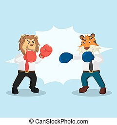 business animal fighting illustration design