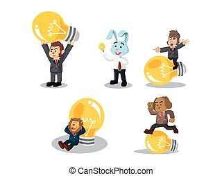 business animal with bulb cartoon set