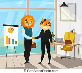 Business Animals Poster - Business animals poster with cat...