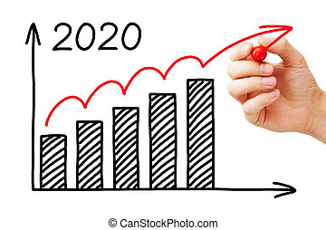 business, année, croissance, 2020, graphique, concept