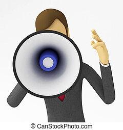 Business Announcement - Businessman with a megaphone ...
