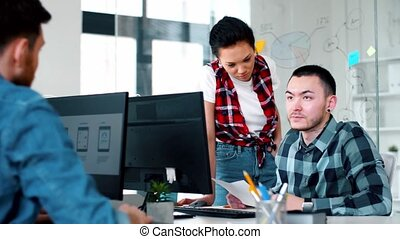 ui designers discussing template of use interface -...