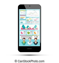 Business App on Phone. Infographic Data on Cellphone Screen. Vector Application with Graphs and Avatars.