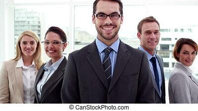 business, appareil photo, équipe, poser