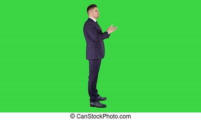 business, applaudir, chroma, écran, vert, key., mains, homme
