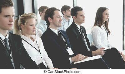 business, applaudir, gens, réunion