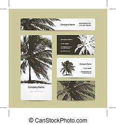 business, arbre, exotique, paume, cartes, conception