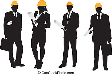 Architect with building plans Silhouettes
