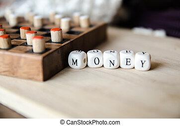 business, argent, mot, recueilli, de, éléments, de, bois, éléments, à, les, lettres, argent, et, jeu société