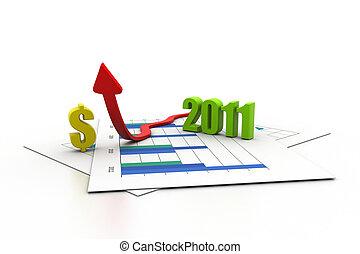 Business arrow, chart,