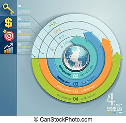 Business arrow infographics circle template. Vector illustration. can be used for workflow layout, banner, diagram, number options, step up options, web design.