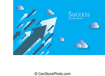 business arrows concept to success. growth chart up increase profit sales. Finance money stretching rising up. background vector illustration