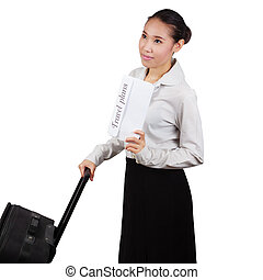 Business Asian woman with a suitcase isolated on white background.