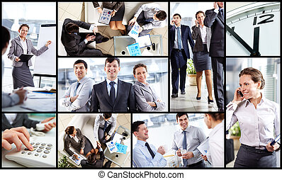 Business atmosphere - Collage of business partners at work...