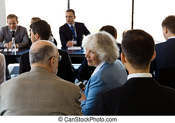 Business audience at training