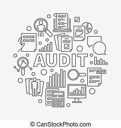 Business audit round illustration