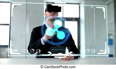 businessman with vr headset