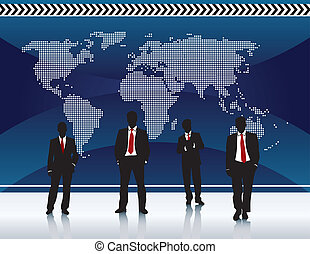 business background blue world map