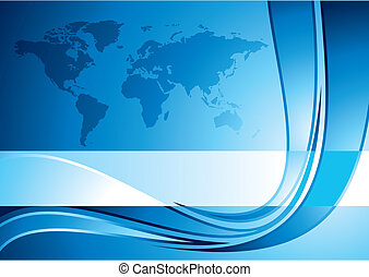 Business background with world map, vector illustration -...