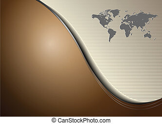 business background elegance brown with world map, vector.