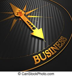 Business Background. Golden Compass Needle on a Black Field...