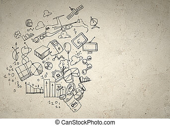 Business background image with drawn ideas and concepts. ...
