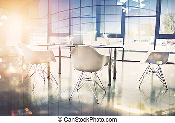 Business background of a with meeting room. double exposure
