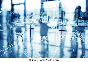 Business background of a with meeting room with network lines. double exposure