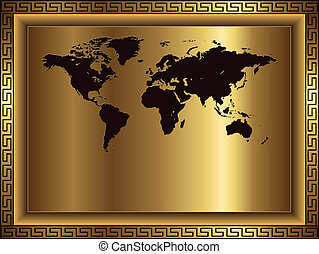 Business background gold with world map, vector