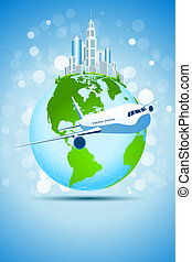 Business Background with City Earth and Aircraft - Blue...