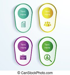 Business Background With Four Paper Stickers