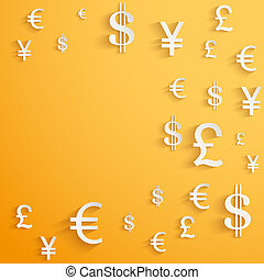 Currency symbol on bright bright orange background with space for text. Business Vector Illustration.