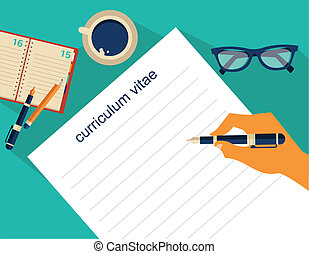 Business background with cv, resume, job and meeting theme, vector illustration
