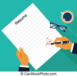 Business background with resume, vector - Business...