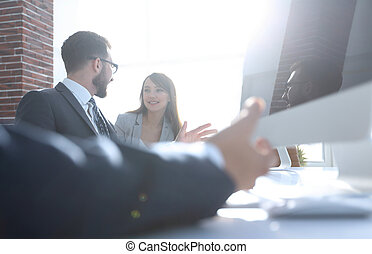 business background.business team talking