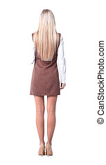 business background.rear view of a modern young business woman .photo in full growth