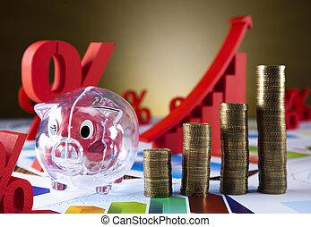 Business balance, coins