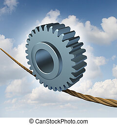 Business Balance - Business balance concept with a gear or...