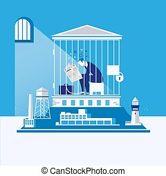 Business bankruptcy, debts concept vector illustration