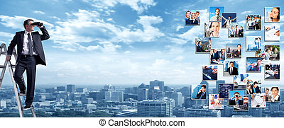 Business banner. - Business people banner collage background...