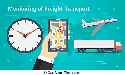 Business Banner-Monitoring of Freight Transport - Vector...